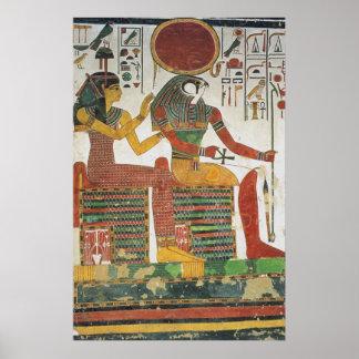 Impresión antigua de Horus del egipcio Póster
