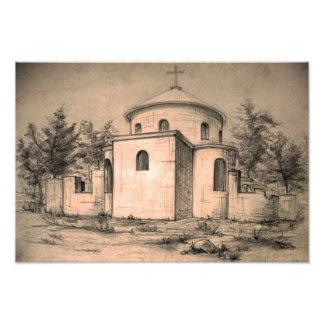Impresión antigua de la foto del arte del lápiz de