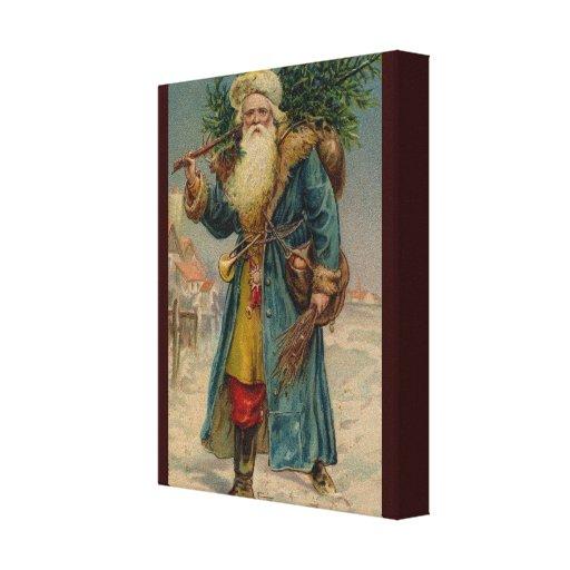 Impresión antigua de la lona de Santa de la tarjet