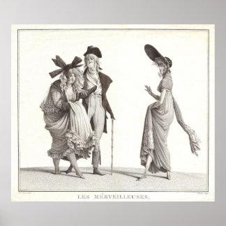 Impresión antigua de la moda del francés de Les Me Póster