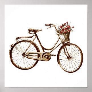 Impresión antigua de los rosas de las flores de ce póster