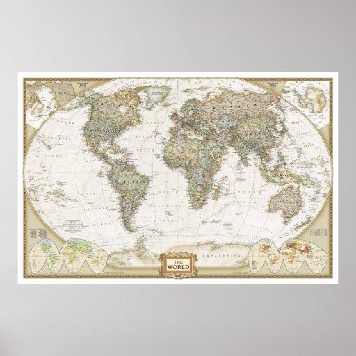 Impresión antigua del poster del mapa del mundo