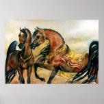 Impresión árabe del poster del retrato del caballo