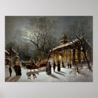 Impresión archival de la Nochebuena del vintage Impresiones