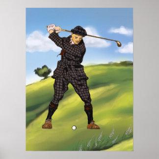 Impresión archival del golf del golfista del perío poster