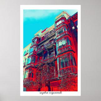 impresión arquitectónica psicodélica del poster de