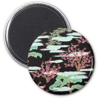 Impresión asiática negra de la flor de cerezo iman de frigorífico