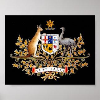 Impresión australiana del escudo de armas póster