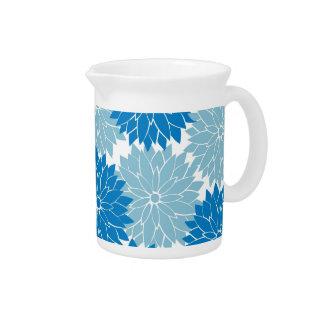 Impresión azul bonita del estampado de flores de l jarras