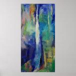 Impresión azul de la cascada poster