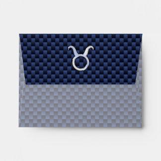Impresión azul de la fibra de carbono del tauro de sobres