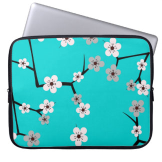Impresión azul de la flor de cerezo del trullo mangas portátiles