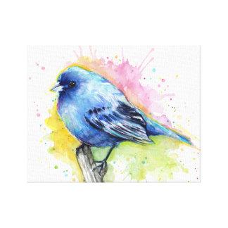 Impresión azul de la lona de la acuarela del lona estirada galerías