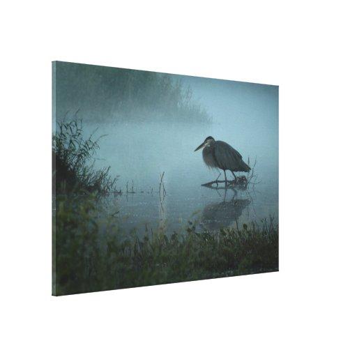 Impresión azul de la lona de la garza lienzo envuelto para galerías