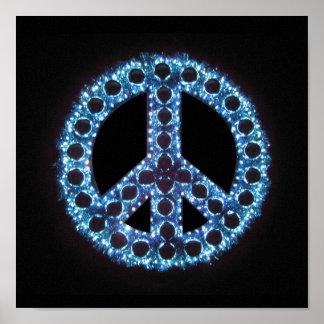impresión azul de la lona de la paz póster