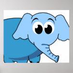 Impresión azul de la lona del elefante posters