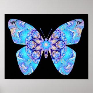 Impresión azul de la mariposa del caleidoscopio póster