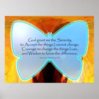 Impresión azul de la mariposa del rezo de la seren posters