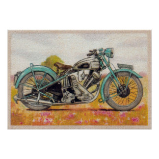 Impresión azul de la motocicleta de la aguamarina  póster