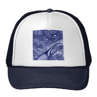 Impresión azul de la naturaleza del vintage de los gorros
