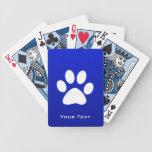 Impresión azul de la pata baraja de cartas