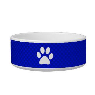 Impresión azul de la pata tazon para gato