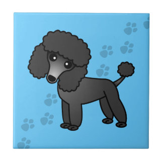 Impresión azul de la pata del dibujo animado negro azulejo cuadrado pequeño