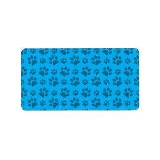 Impresión azul de la pata del perro etiqueta de dirección