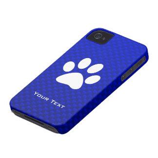Impresión azul de la pata iPhone 4 Case-Mate fundas