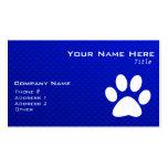 Impresión azul de la pata tarjeta de visita