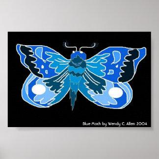 Impresión azul de la polilla poster