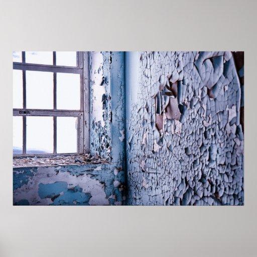 Impresión azul de la ventana impresiones