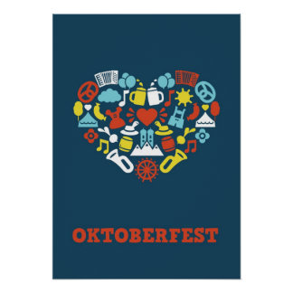 Impresión azul de Oktoberfest Poster