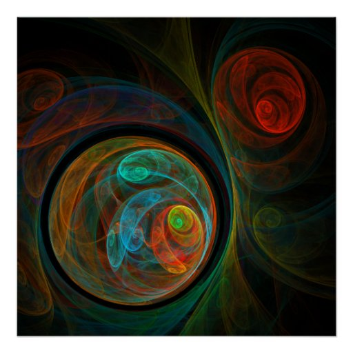 Impresión azul del arte abstracto del renacimiento poster