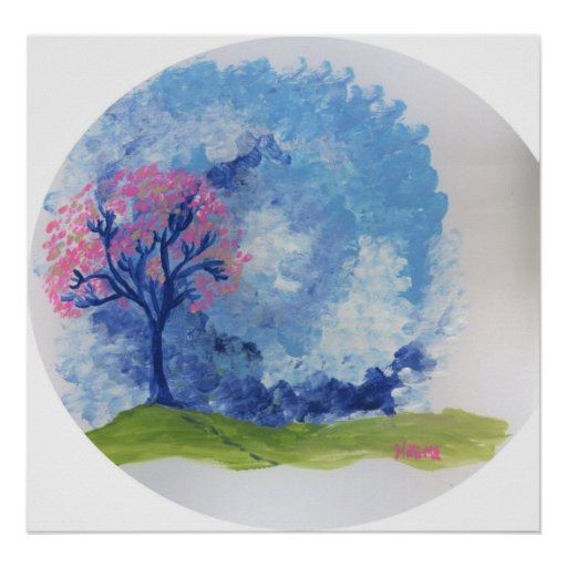 impresión azul del arte del árbol impresiones