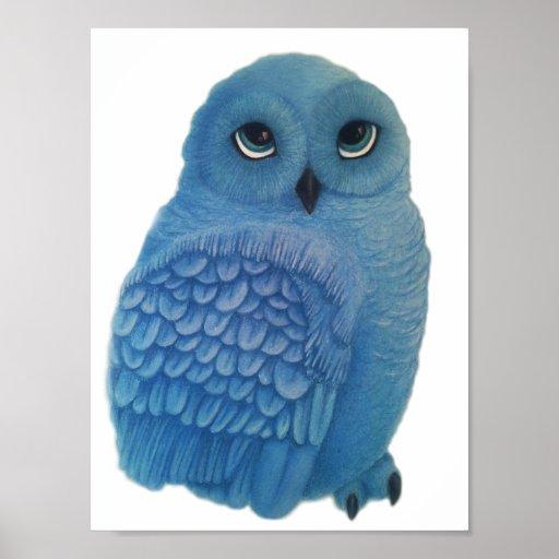 IMPRESIÓN azul del ARTE del búho Poster