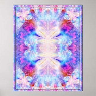 Impresión azul del arte del dínamo de la floración póster