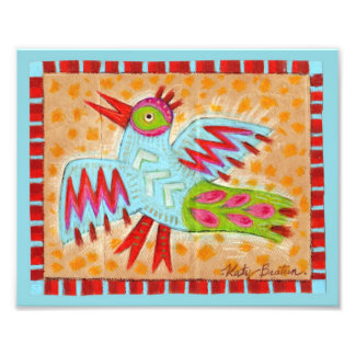 Impresión azul del arte popular del pájaro arte con fotos