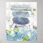 Impresión azul del collage de la flor de las lilas posters