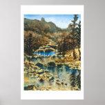 Impresión azul del lago posters