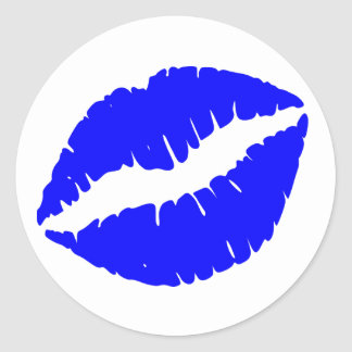 Impresión azul del lápiz labial pegatina redonda