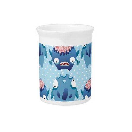 Impresión azul del monstruo del lunar jarra para bebida