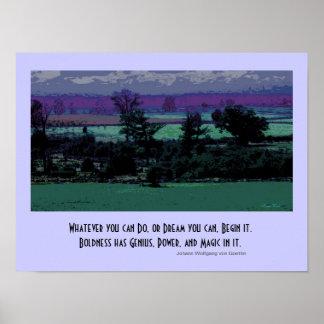 impresión azul del paisaje posters