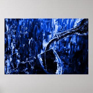 Impresión azul del poster de la bella arte de los