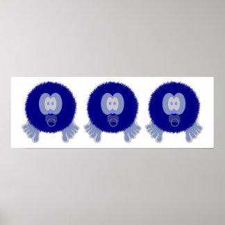 Impresión azul del poster de los bebés de Pom Pom