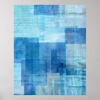 Impresión azul del poster del arte abstracto del