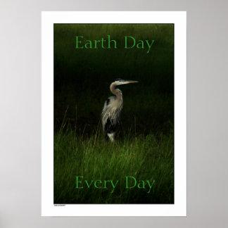 Impresión azul del poster del Día de la Tierra de