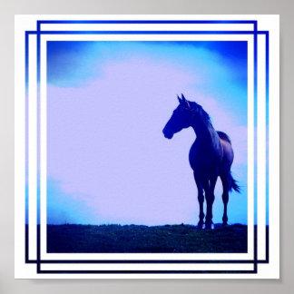 Impresión azul del poster del diseño del caballo
