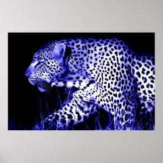 Impresión azul del poster del leopardo que camina