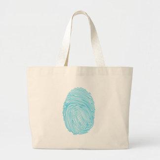 Impresión azul del pulgar bolsas lienzo